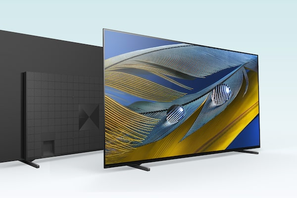 Overlapping  images of a front-facing BRAVIA big-screen TV and rear-facing BRAVIA TV