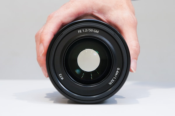 A frontal view of the FE 50mm F1.2 while the aperture is closed down by a few stops