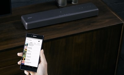 smartphone and soundbar