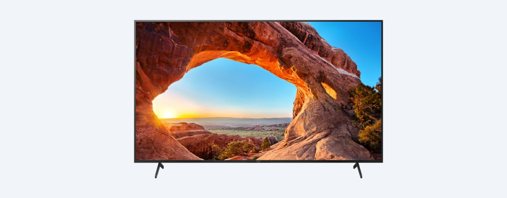 X85J BRAVIA TV front shot with wide stand setting