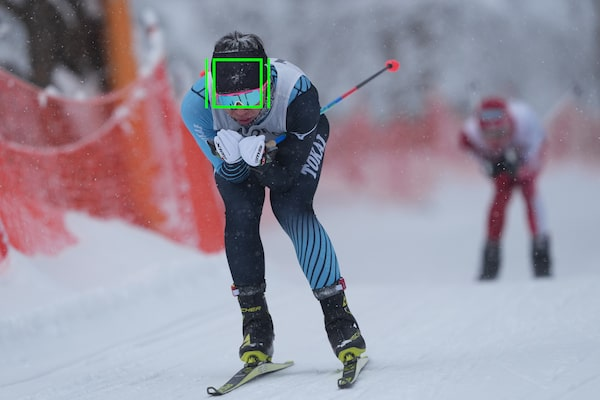 A ski racer with an AF frame on his head