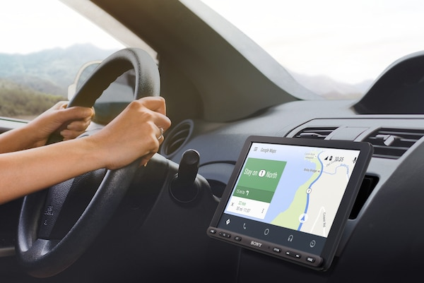 XAV-AX8000 displaying directions with Android Auto