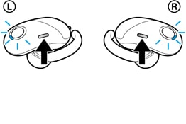 An illustration of left and right headphones of WF-1000X